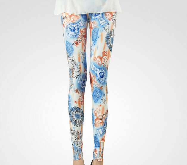 SEO_COMMON_KEYWORDS Blue and White Porcelain Tie Dye Ladies Leggings